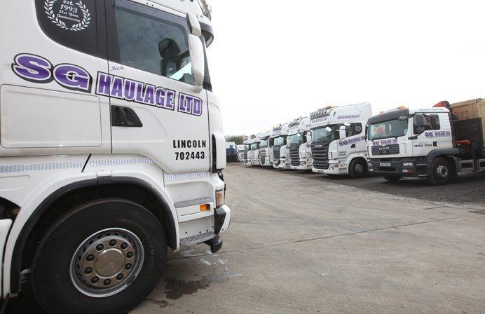 All the trucks outside